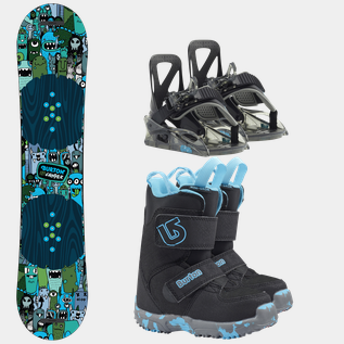 Chopper Kids, Mini Grom, Grom Binding 18/19, snowboardpakke barn