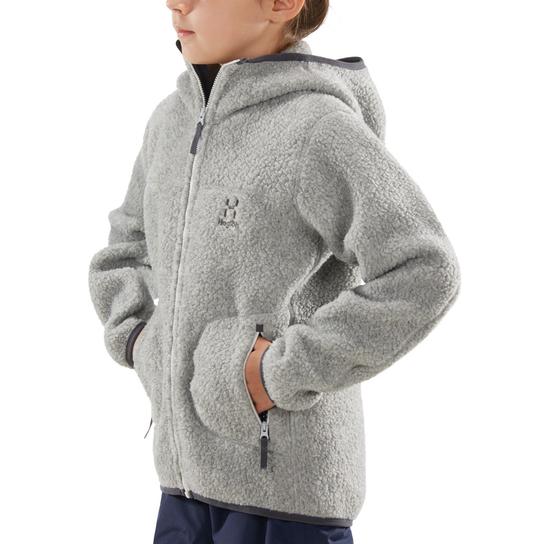 Haglöfs Pile Hood, fleecejakke junior Grå Fleecetrøyer | XXL